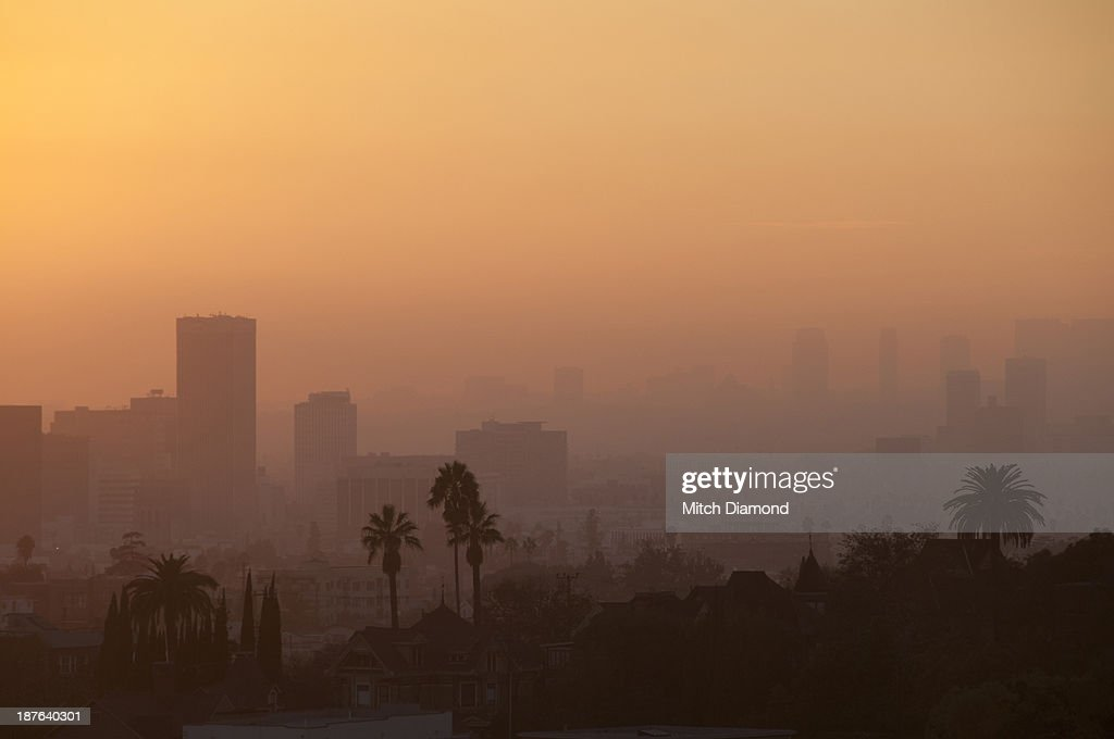 Sunset L.A.basin : Stock Photo