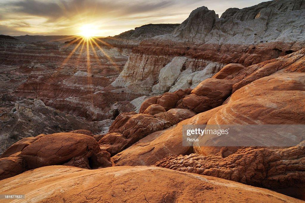 Sunset landscape at paria rimrocks utah usa stock photo for Landscaping rocks utah county