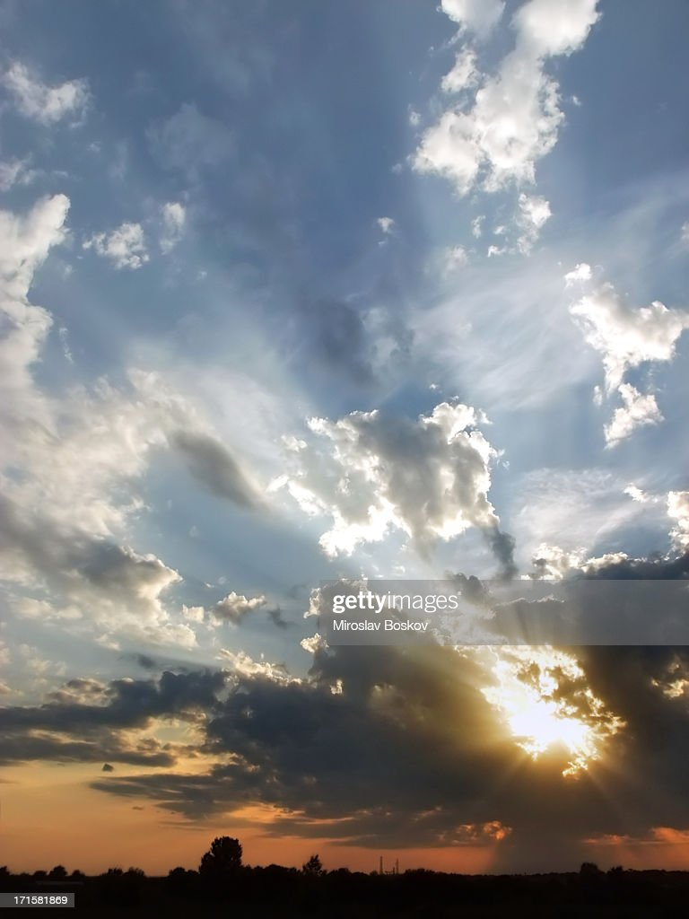 Sunset Landscape With Dramatic Clouds : Stock Photo