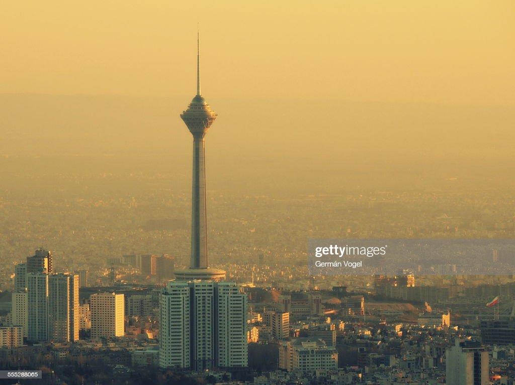 Sunset light washes Tehran skyline
