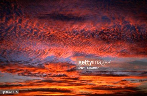 Sunset lighting up the Kona coast sky, Kailua-Kona, United States of America : Stock Photo