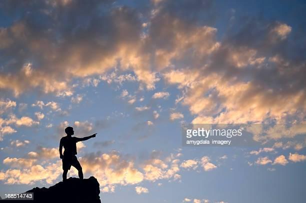 sunset man silhouette leadership