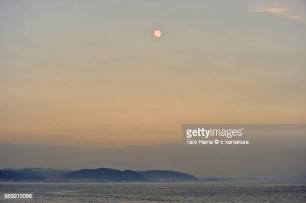 Sunset moon on Miura Peninsula and Sagami Bay