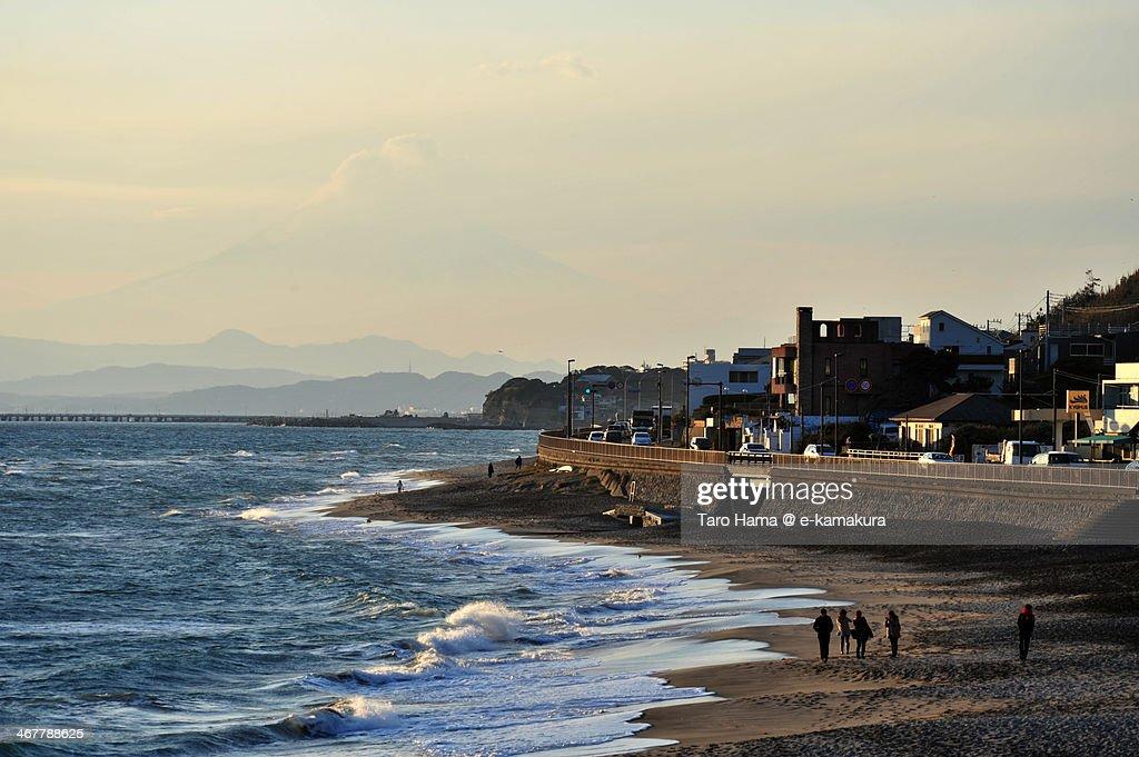 Sunset Mt.Fuji and beach