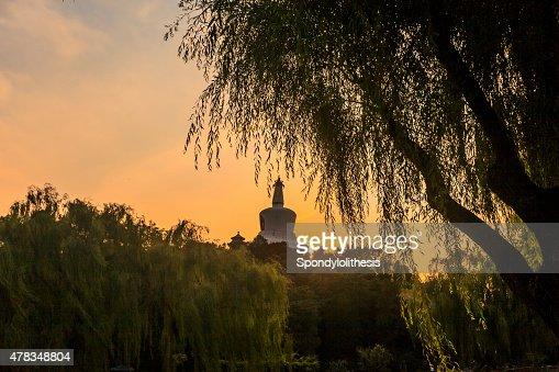 Sunset of Beihai park in Beijing, China