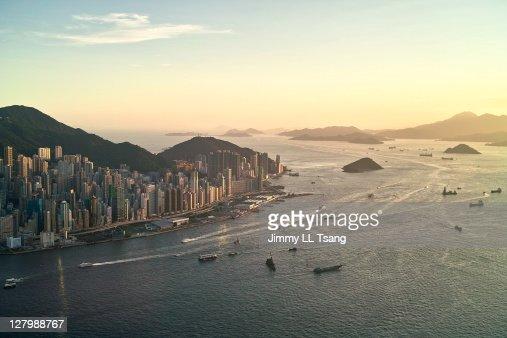 Sunset of Hong Kong victoria harbor