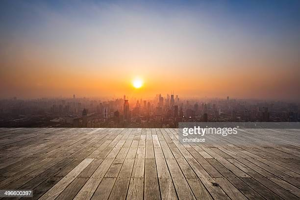 Sonnenuntergang in shanghai, china