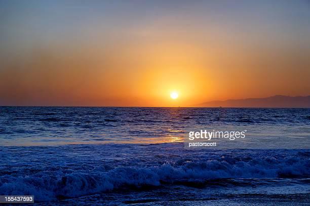 Sunset of Southern California Summer Sky Sun Ocean Waves
