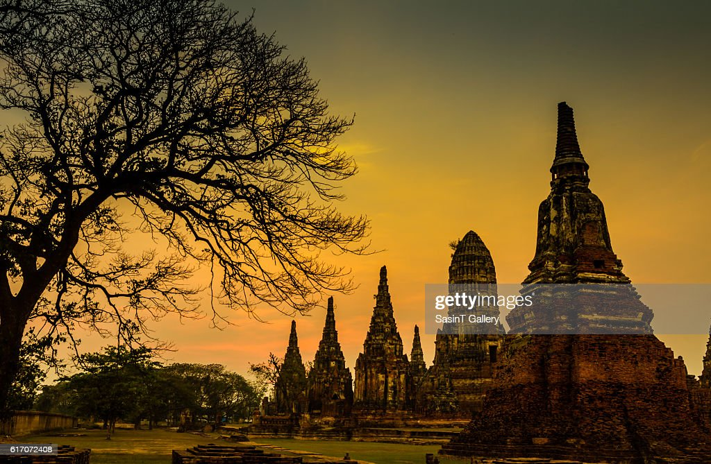 Sunset old Temple wat Chaiwatthanaram : Stock Photo