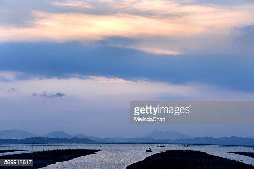 Sunset on a Chinese fishing village
