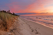 Sunset on a Lake Huron Beach - Pinery Provincial Park, Ontario, Canada