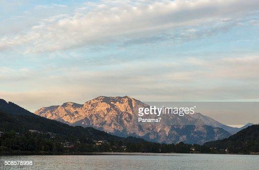 sunset on Alpine lake Mondsee, Austria : Stock Photo