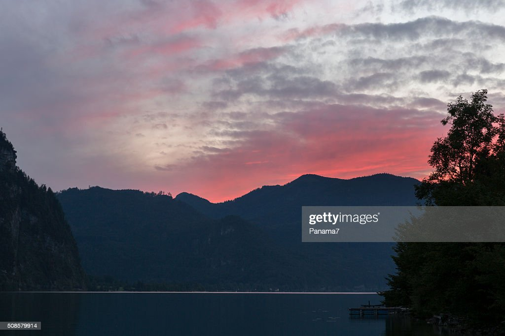 sunset on Alpine lake Mondsee, Austria : Stock Photo