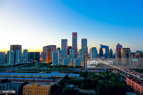 Sunset on Beijing Central Business district buildings skyline, China cityscape