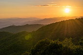 Sunset in Smoky Mountain National Park on the Blue Ridge Parkway in the Appalachian Mountains.