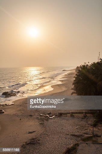 Sunset on Cape Coast beach, Ghana : Stock Photo