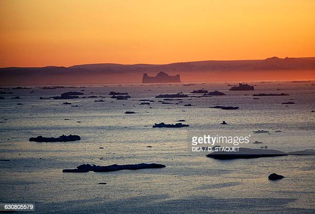 Sunset on Disko bay Qaasuitsup Greenland