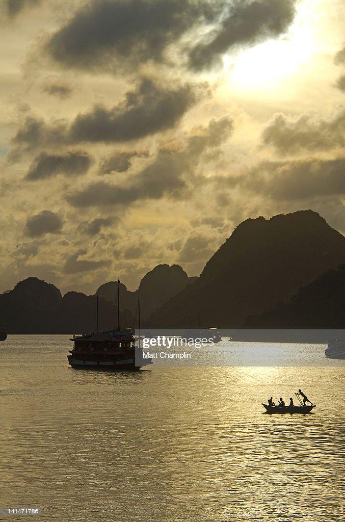 Sunset on Halong Bay : Stock Photo
