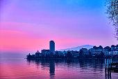 Sunset on Lake Geneva in Montreux, Switzerland