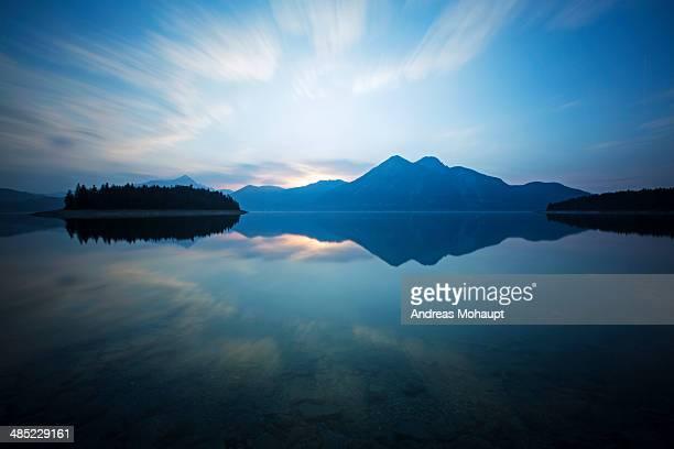 Sunset on Lake Walchensee in Germany, Bavaria