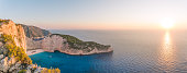 Sunset on Navagio shipwreck beach, Zante, Greece