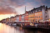 Sunset on Nyhavn Canal, Copenhagen, Denmark.