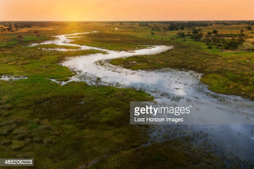 Sunset on Okavango Delta, Chobe National Park, Botswana, Africa