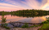 Colorful Sunset on Dogtooth Lake at Rushing River Provincial Park, Ontario, Canada