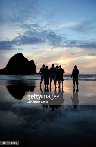 Sunset on Piha Beach : Stock Photo