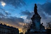 Photo taken on Place de la République during a sunset.