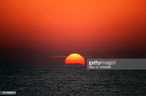 Sunset on sea Sicily region Italy