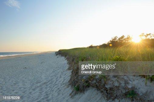 Sunset on Surfside Beach, Nantucket Island, MA : Stock Photo