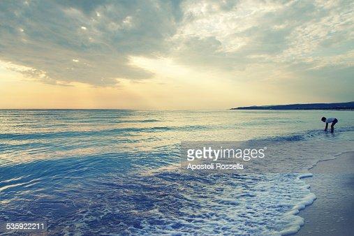 Sunset on the beach : Stock Photo