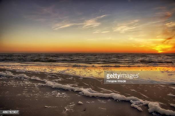 Sunset on the beach with sea foam