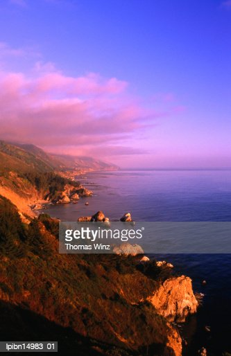 Sunset on the Big Sur coastline., California, United States of America, North America