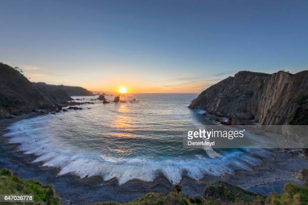 Sunset on the El Silencio Bay of Biscay