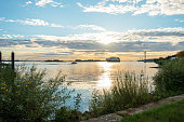 The coast of the Elbe in the area of Blankenese Hamburg an early sunset