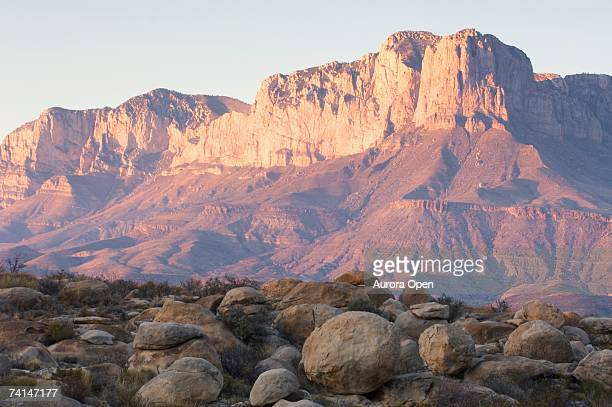 Sunset on the Guadalupe Mountains near Pine Springs, Texas.