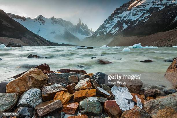 Sunset on the lake near Cerro Torre