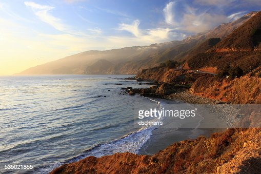 Sunset on the Pacific Coast Highway : Stock Photo