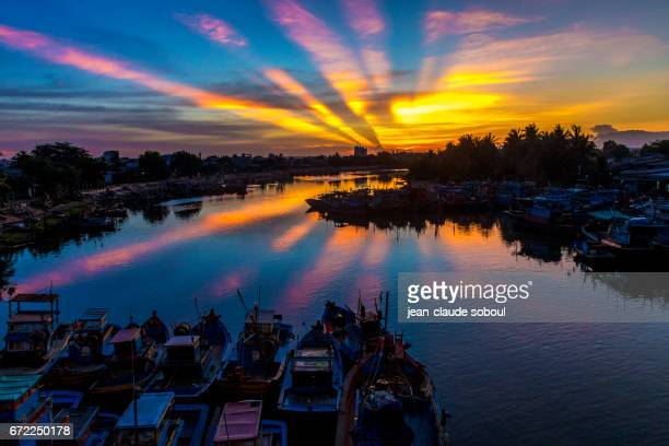 Sunset on the port of LaGi, in binh thuan province (vietnan