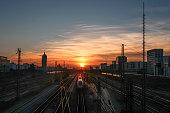 sunset, germany, train station, railroad, skyline, Urban, Capital Cities, railway