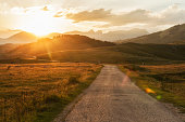 Sunset on the road to Durmitor National Park in Montenegro.