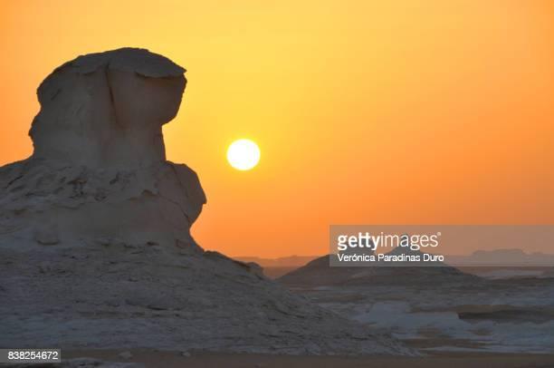 Sunset on the white desert