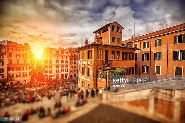 Sunset on Trinita dei Monti and the Spanish Steps
