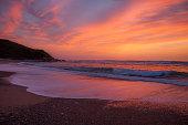 Sunset over a beach near Saint Jean de Luz, South of France