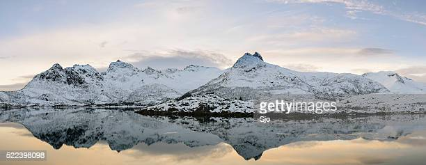 Sunset over a calm winter lake in Lofoten in Norway