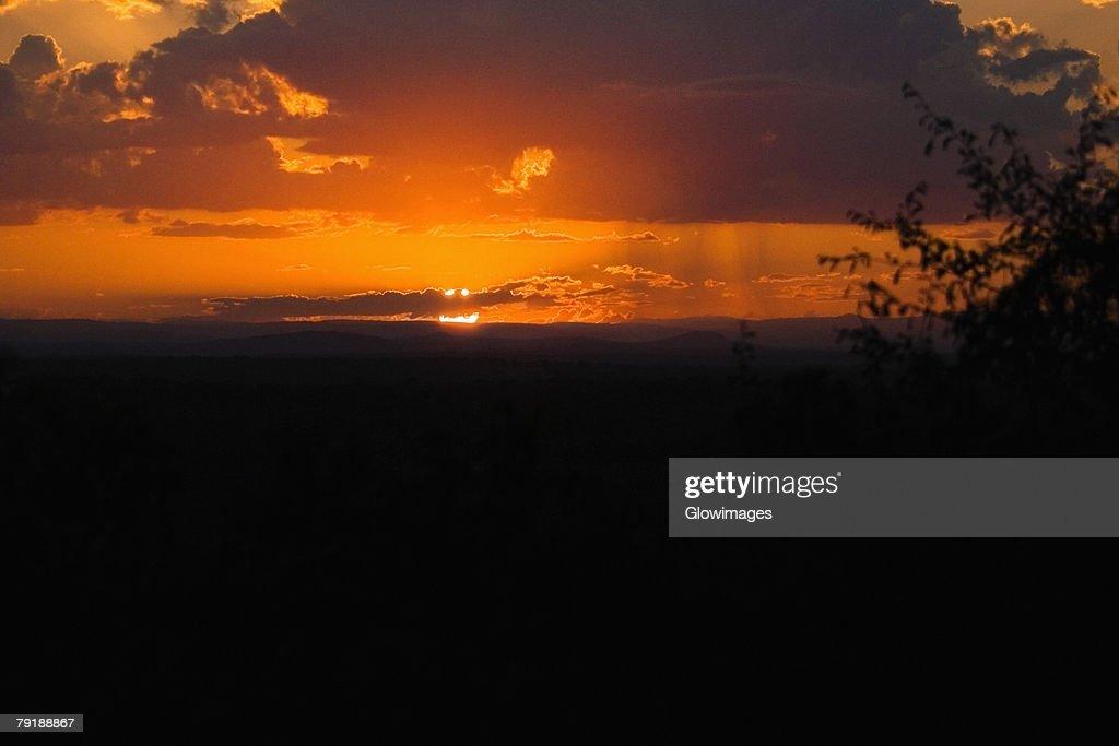 Sunset over a landscape, Kruger National Park, South Africa : Foto de stock