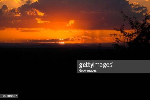 Sunset over a landscape, Kruger National Park, South Africa : Foto de stock