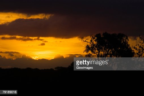Sunset over a mountain range, Kruger National Park, South Africa : Stock Photo